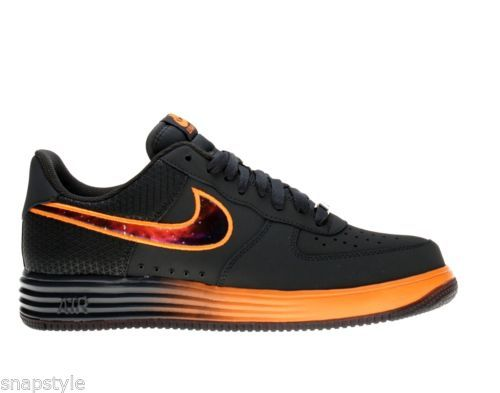sports shoes a1b0b c0a5a New-Mens-NIKE-Lunar-Force-1-Leather-580383-001-Black-Orange -Basketball-Sneakers