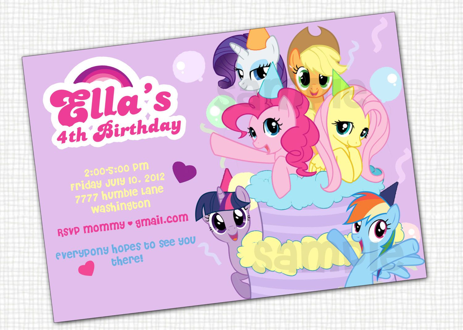 My Little Pony Invitation Printable Via Etsy Kids - My little pony birthday party invitation template