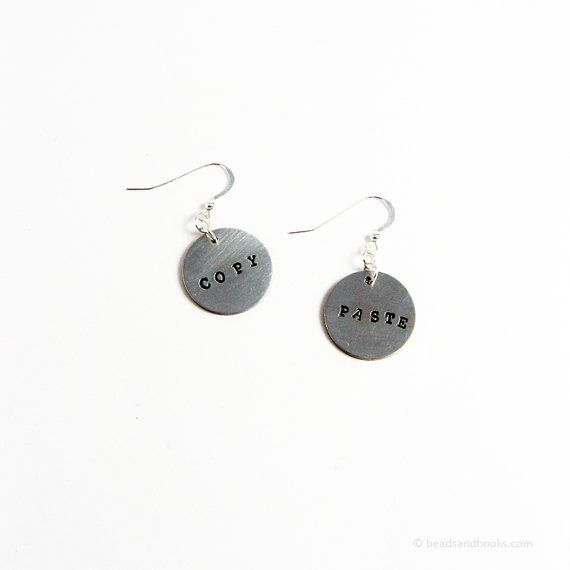 Copy And Paste Earrings Nerd Jewelry For Writers Graphic Designers