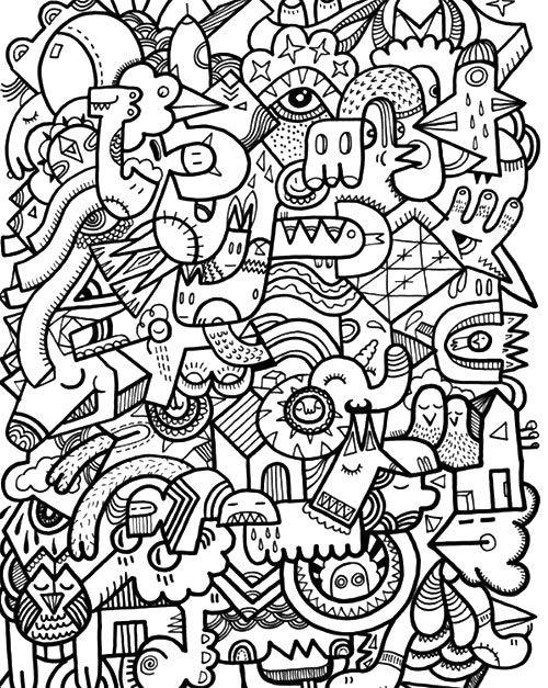 ร ปภาพกราฟฟ กลายเส นขาวดำ อาร ตๆ เท ๆ สวยๆ วาดร ป Com Abstract Coloring Pages Doodle Coloring Doodle Pages