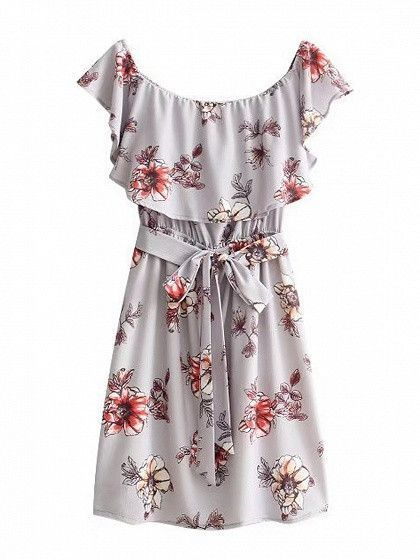 e2b00cc65565 Gray Off Shoulder Floral Ruffle Tie Waist Mini Dress
