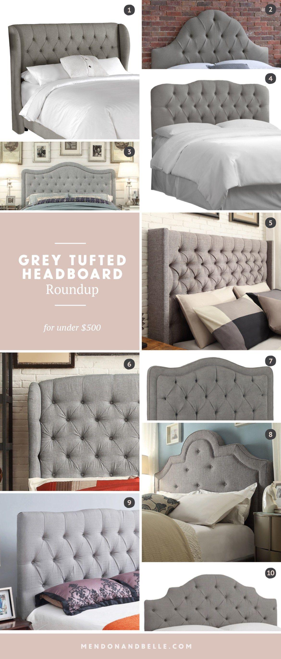 tufted w shop trim upholstered nailhead grey charcoal headboard