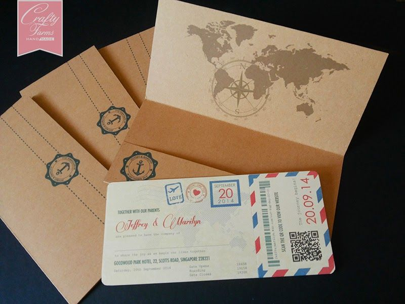 chinese wedding invitation card in malaysia%0A Vintage Boarding Pass Wedding Card Design with Red and Blue Stripes