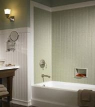 Wainscoting And A Tub Wall Using Swanstone Solid Surface Walls