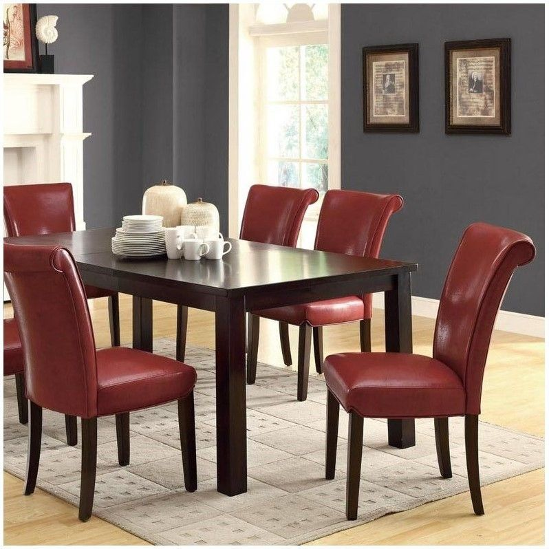 monarch faux leather dining chair in burgundy set of 2 dining rh pinterest com