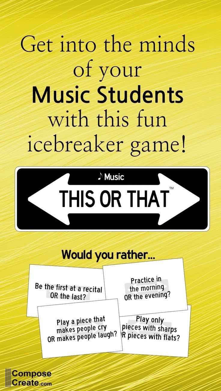 This or That - Music Icebreaker Game Music This or That game is fast paced and gets music or piano students to talking to each other. Great for groups! ...Music This or That game is fast paced and gets music or piano students to talking to each other. Great for groups! ...