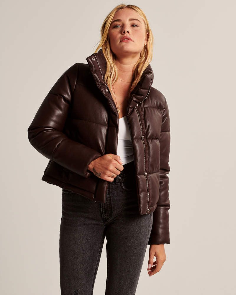 Vegan Leather Puffer Jacket Leather Puffer Jacket Brown Puffer Jacket Women S Coats Jackets [ 1000 x 800 Pixel ]