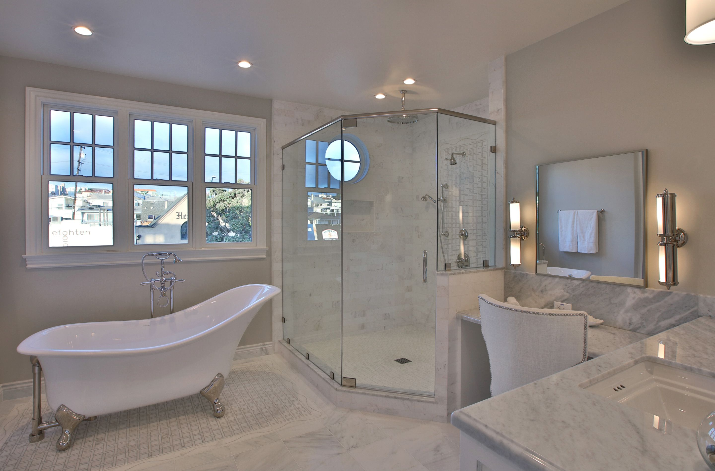 Modern Luxury Master Bath With Clawfoot Tub And Marble Floor With