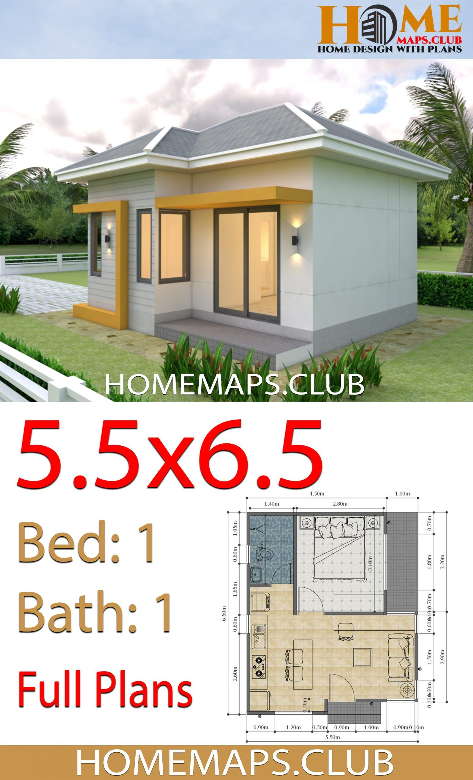 Small House Plans 5 5x6 5 With One Bedroom Hip Roof Small House Plans One Bedroom House Plans Small House Design Plans