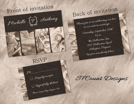 Biker Wedding Invitations: Sepia Photography Biker Motorcycle Wedding By
