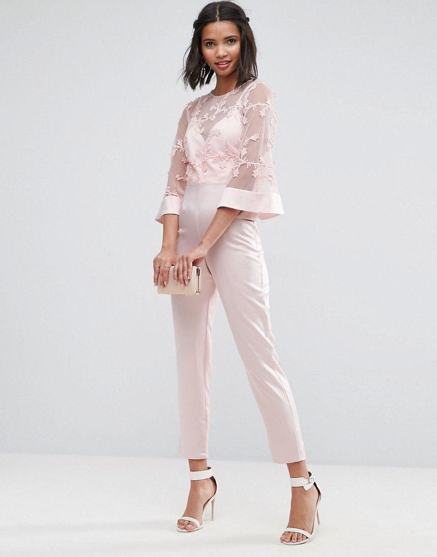 Asos Jumpsuit With Lace Bodice And Contrast Satin Pant Pink Wedding Guest Pants Wedding Attire Guest Jumpsuit For Wedding Guest