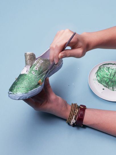 ombre glitter sneakers are fun and easy to make!