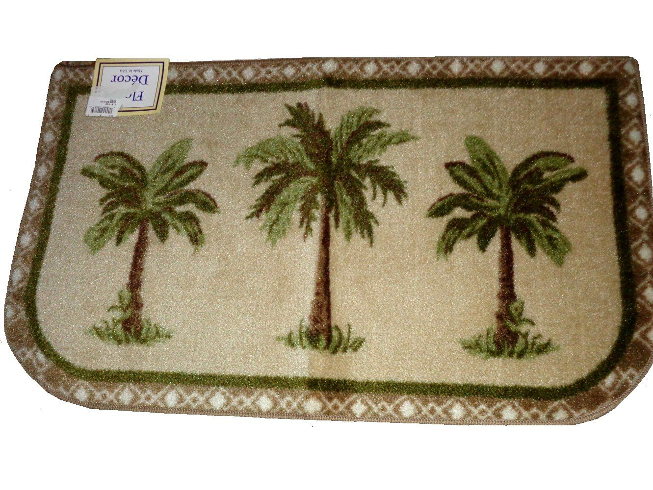 Accent Your Tropical Decor With This Rug That Features Three Palm Trees On A Dark Beige Background The Face Is Palm Tree Rugs Palm Tree Decorations Palm Trees