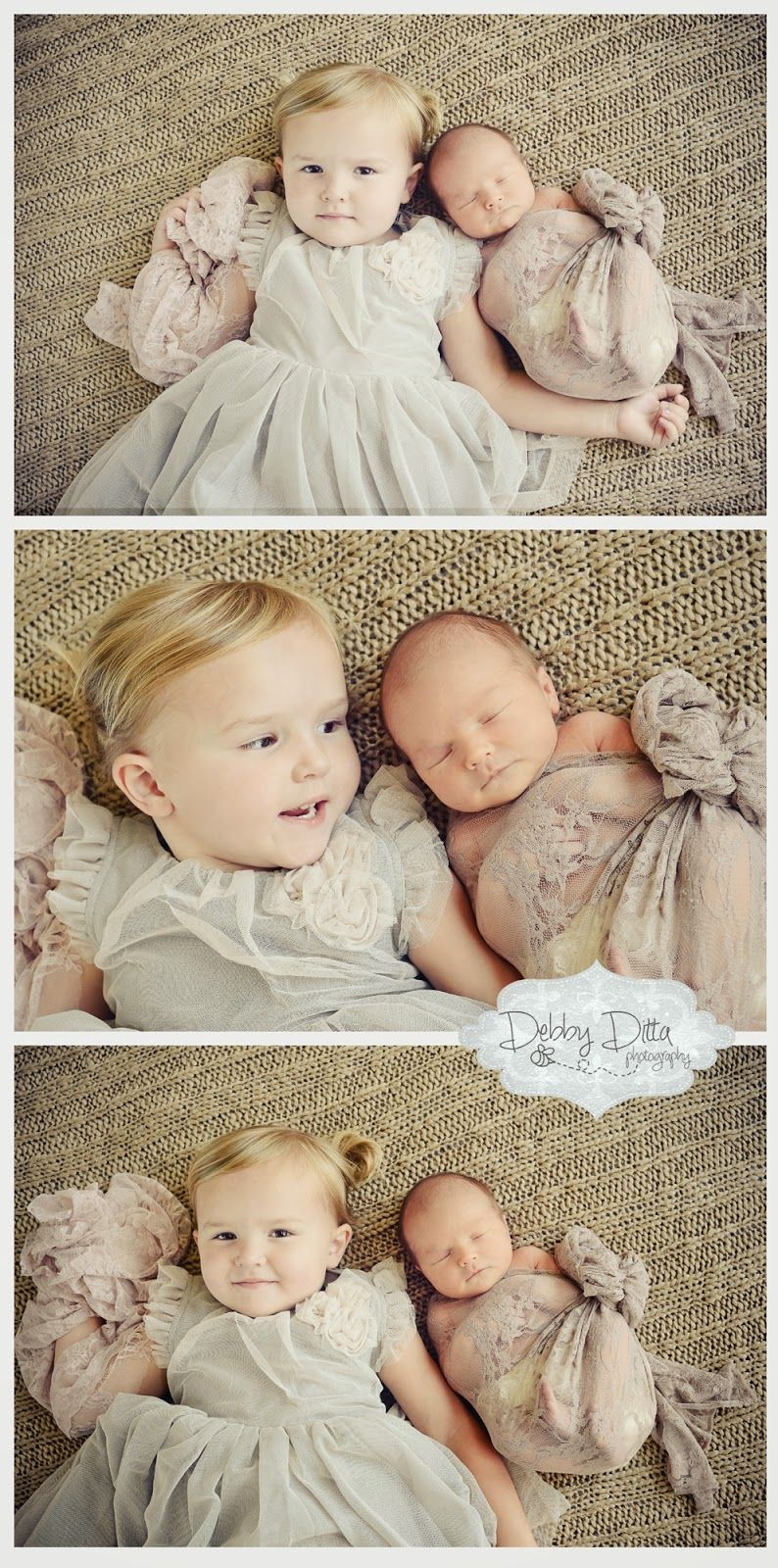 Sweet bigger sibling and newborn pose Gray white and champagne gold Newborn photographer Debby Ditta Photography: Newborn baby girl .. and sweet big sister too! Tomball Houston Cypress Spring Conroe the Woodlands TX Texas baby newborn child children family maternity