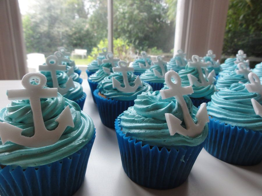 Anchor cupcakes anchor cupcakes by ninascakes for Anchor decoration