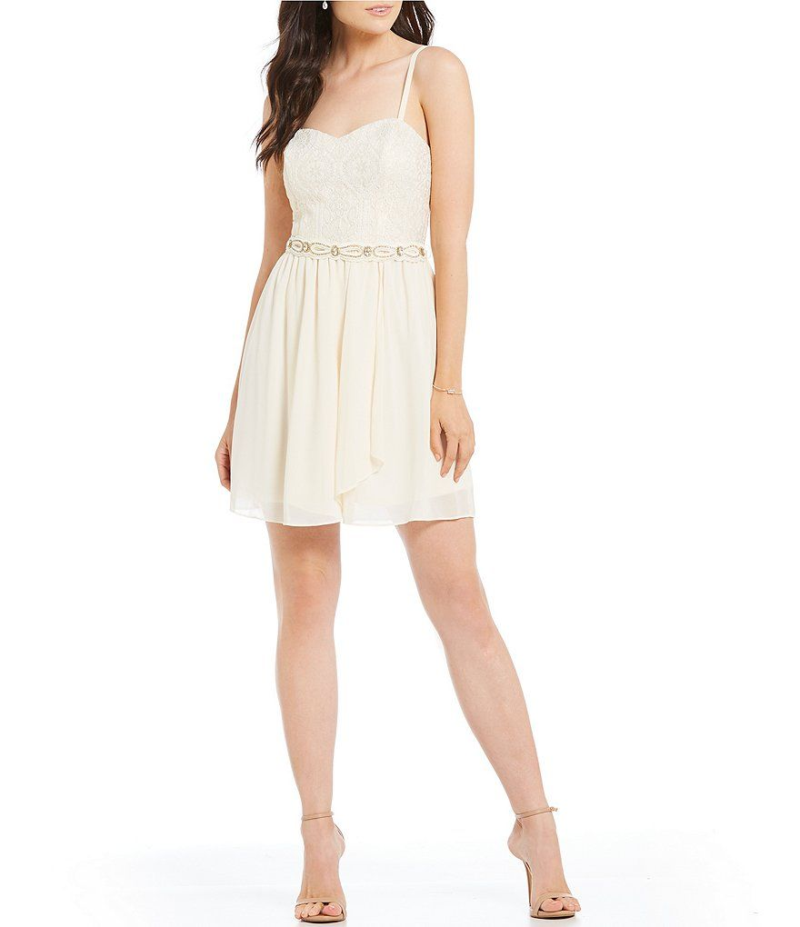 ab0fac2f29 I.N. San Francisco Foiled-Lace Bodice Fit and Flare Dress