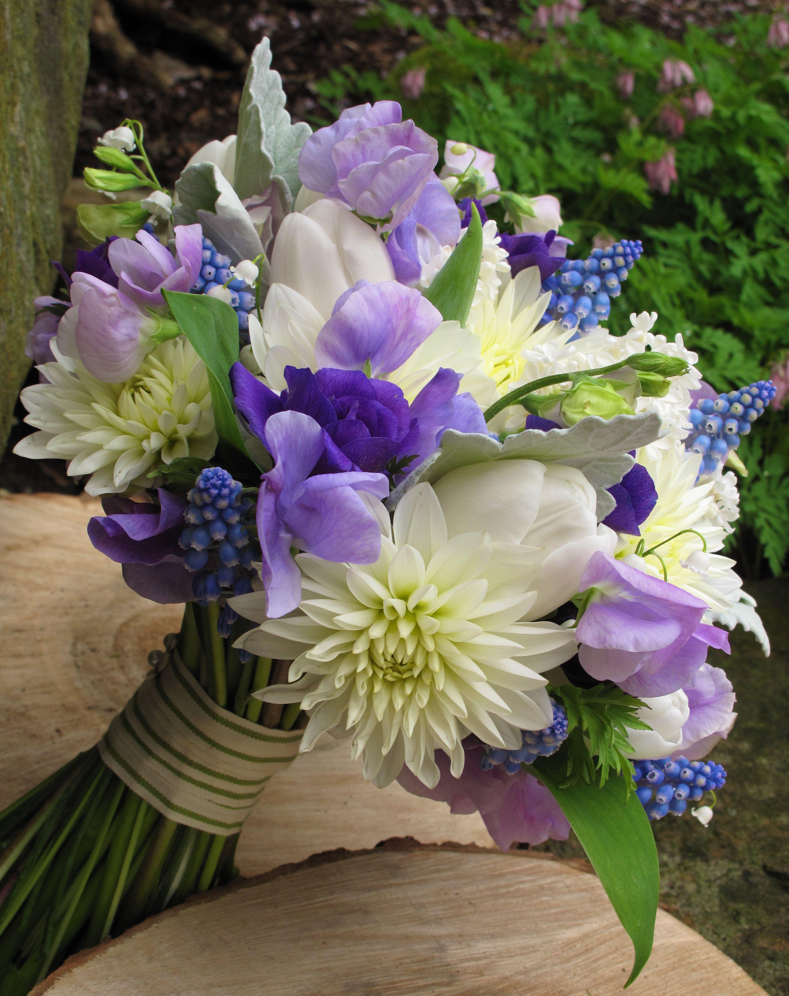 white dahlia, blue muscari, purple lisianthus, lavender