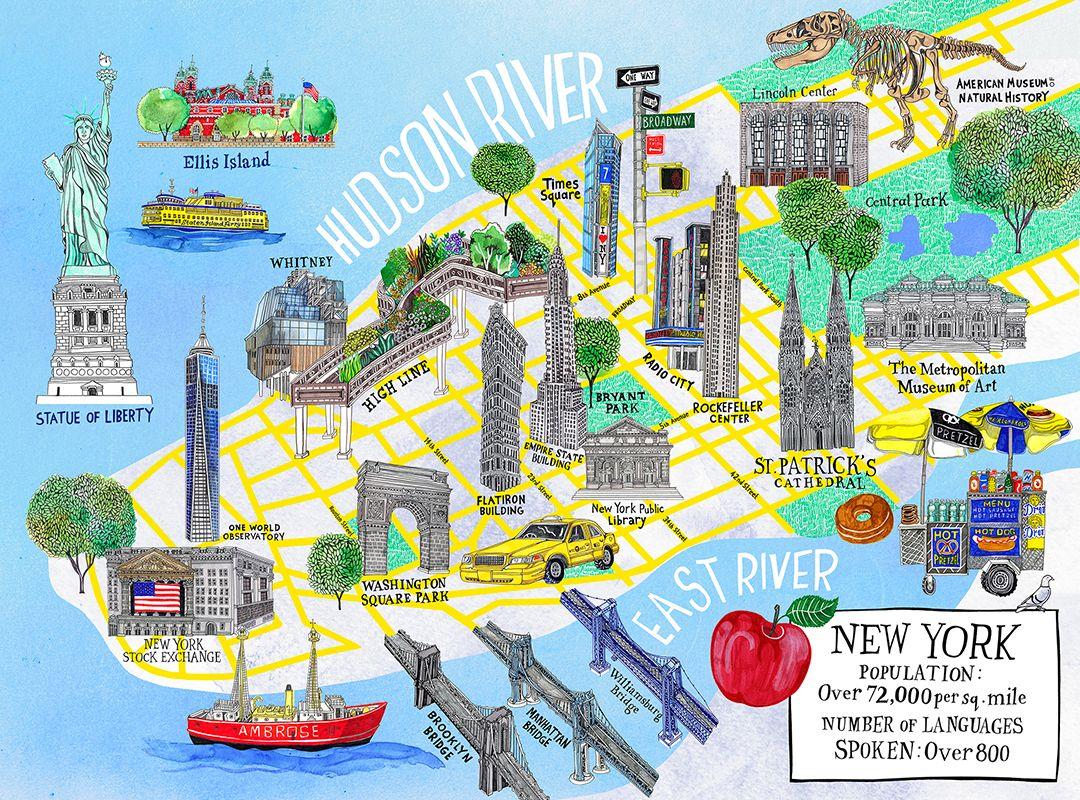 Map Of New York City With Landmarks.Henniehaworth Illustration Kidscorner Galison Map Newyork Nyc