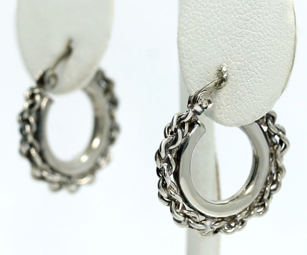Vintage Sterling Silver Twisted Wire Chain Wrapped Double Hoop ...