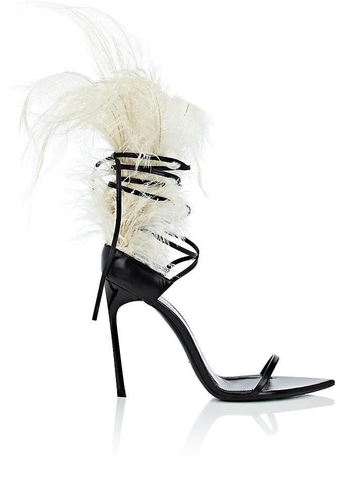 4ec02e582cdd2 Saint Laurent Black Talitha Feather Embellished Ankle Wrap Sandal Ysl Heels,  Stiletto Heels, Toe