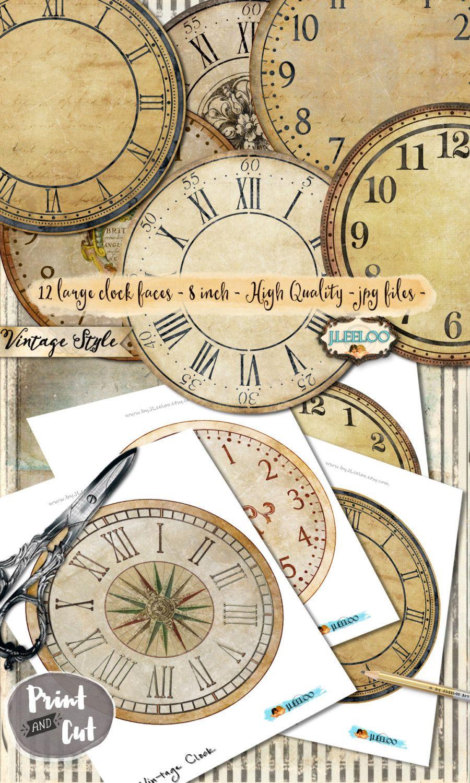 Vintage Clock 8 Inch Circle Printable Clock Face Jpeg Clipart Vintage Home Decor Diy Paper Crafting Download Digita Diy Vintage Decor Vintage Clock Vintage