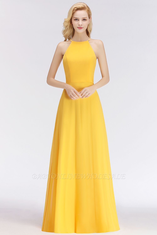 Nita aline halter sleeveless floor length yellow bridesmaid