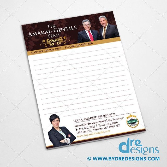 Notepad Design Print For The Amaral Gentile Team Notepaddesign Realestate Dredesigns