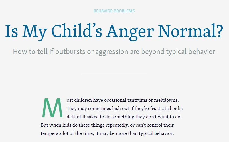 How to tell if outbursts or aggression are beyond typical ...