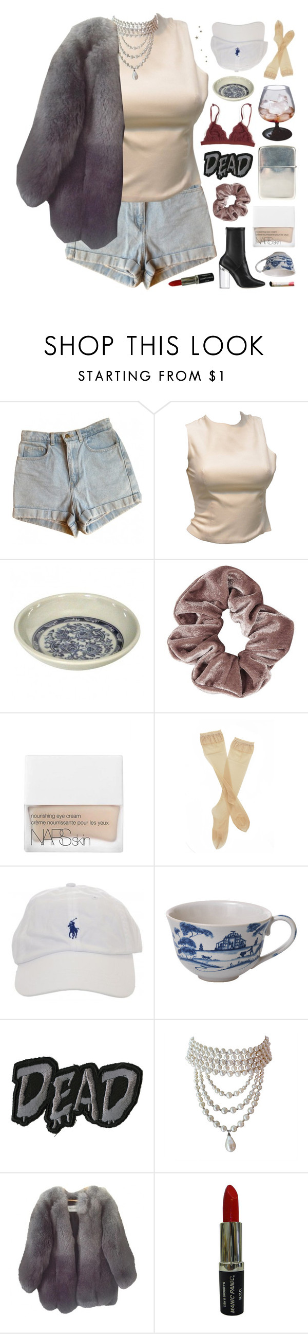 """""""my anxiety is masked by my chill and natural awkwardness."""" by annamari-a ❤ liked on Polyvore featuring American Apparel, Versace, Ugo Cacciatori, Christian Dior, Topshop, NARS Cosmetics, Fogal, Juliska, Paul & Joe and Manic Panic NYC"""