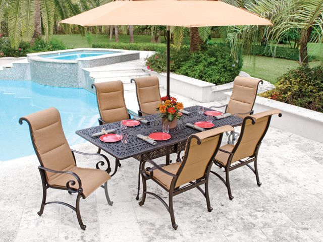 Royal Terrace Savannah Padded Sling 7 Pc. Dining Set is a graceful  combination of comfort and beauty. - Royal Terrace Savannah Padded Sling 7 Pc. Dining Set Is A Graceful