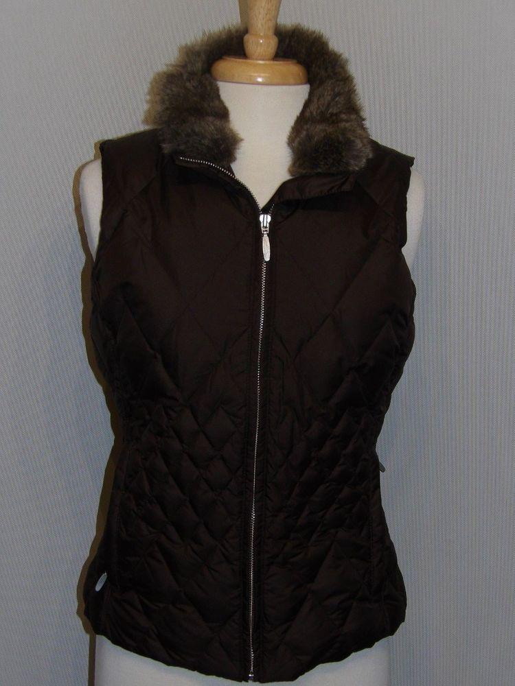 9ad91c1bf75 Womens Eddie Bauer goose Down Vest Faux Fur Collar Brown Small EUC ...