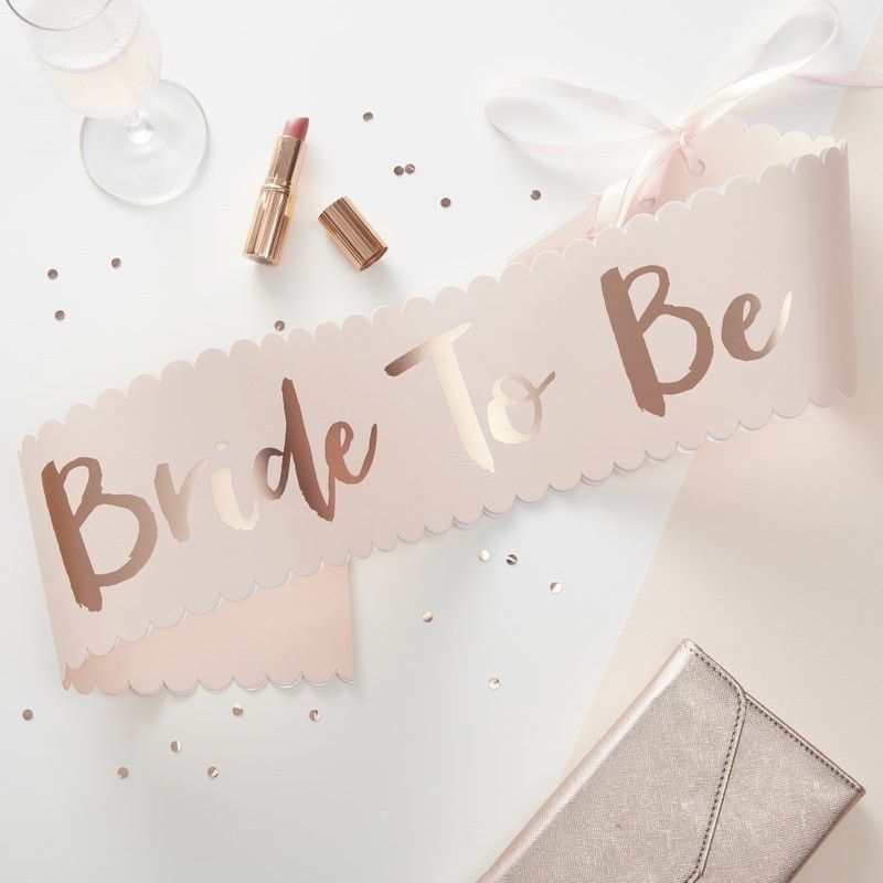 Pink Rose Gold Bride To Be Sash Team Bride Bride To Be Sash Bachelorette Sash Gold Bridal Showers