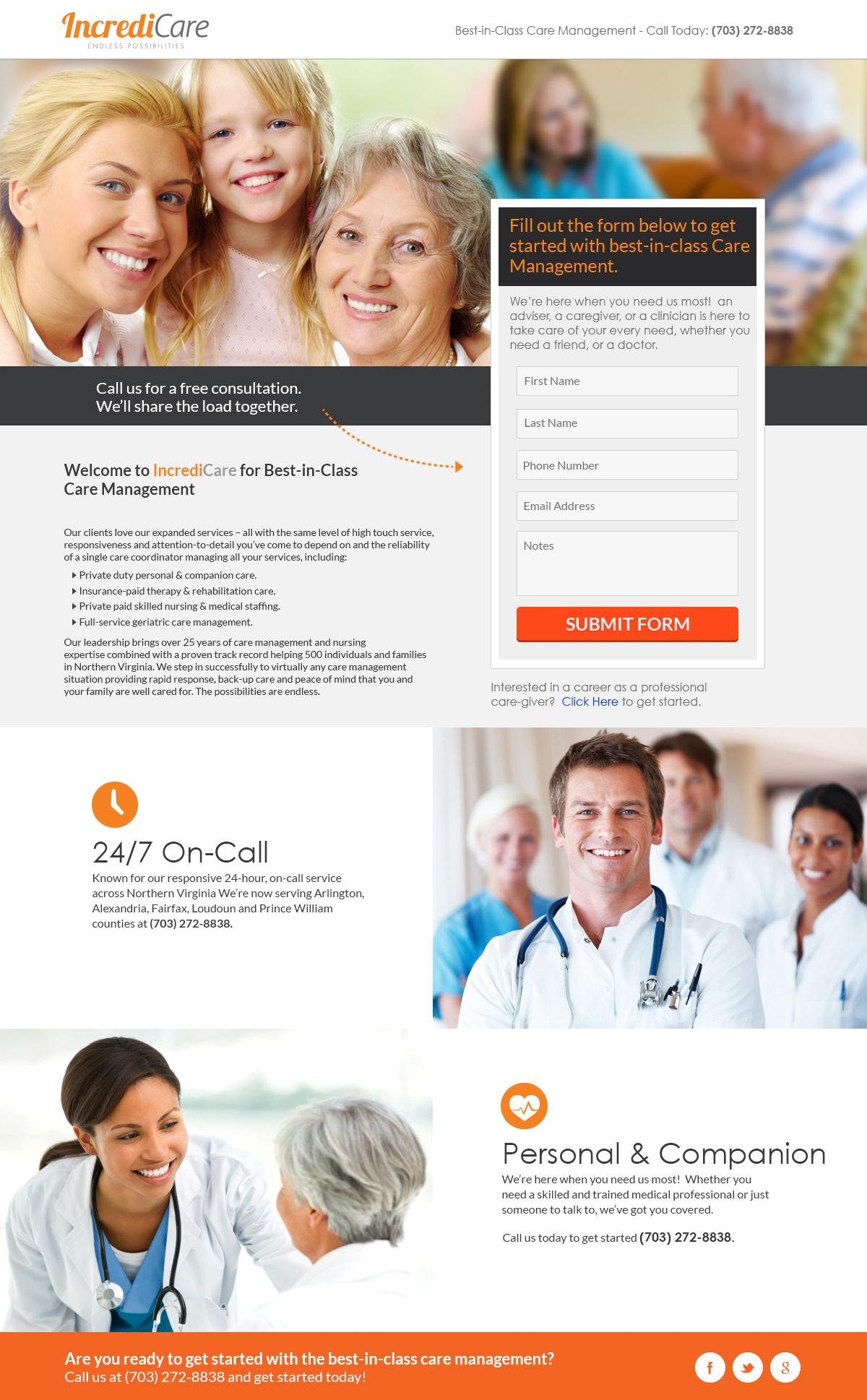 Landing Page created for Incredicare Portfolio design