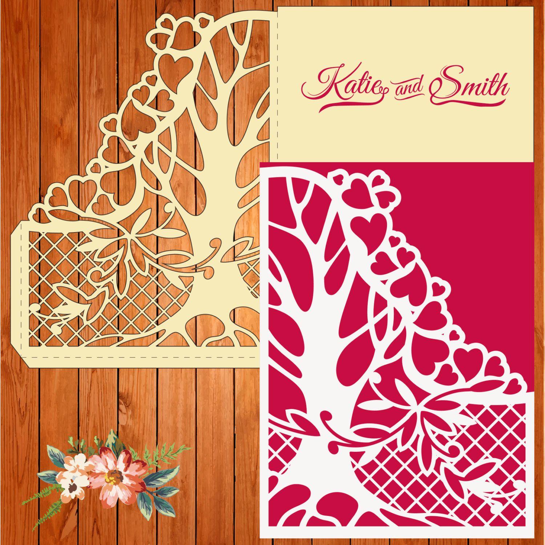 Invitación de la boda tarjeta plantilla, figuras, árbol, red (studio ...