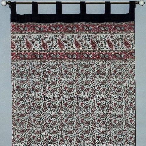 Handmade Jaipur Paisley Dabu Tab Top 100 Cotton Curtain Drape Panel 44x88 Red