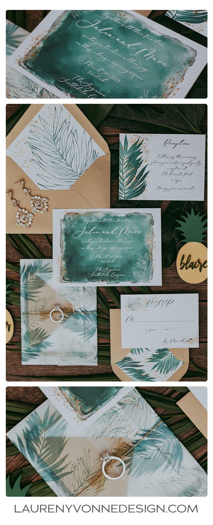 Tropische palmblad bruiloft uitnodiging