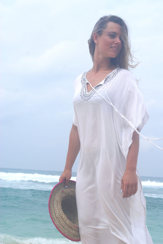 Maxi loose fittingbeaded maxi dressbeach wearbohemian