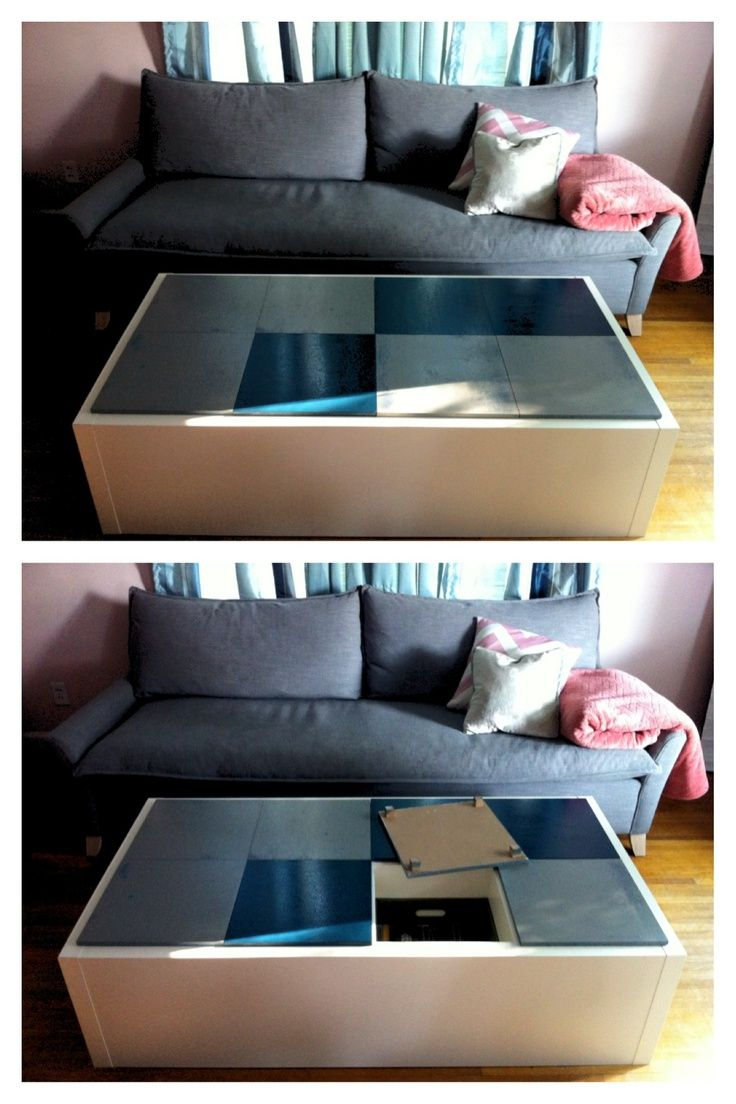 Expedit coffee table with bins inside for DVD storage Home
