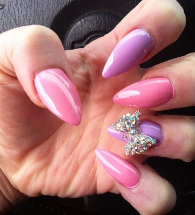 Pink Purple Stiletto Nails I Would Make The Pink Either Blue Or