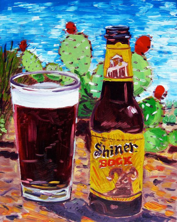 Beer Art Print of Shiner Bock - Year of Beer 03/06, Texas Beer Art, Texas Painting, Gift for Man from Texas, Housewarming Gift, Man Cave Art