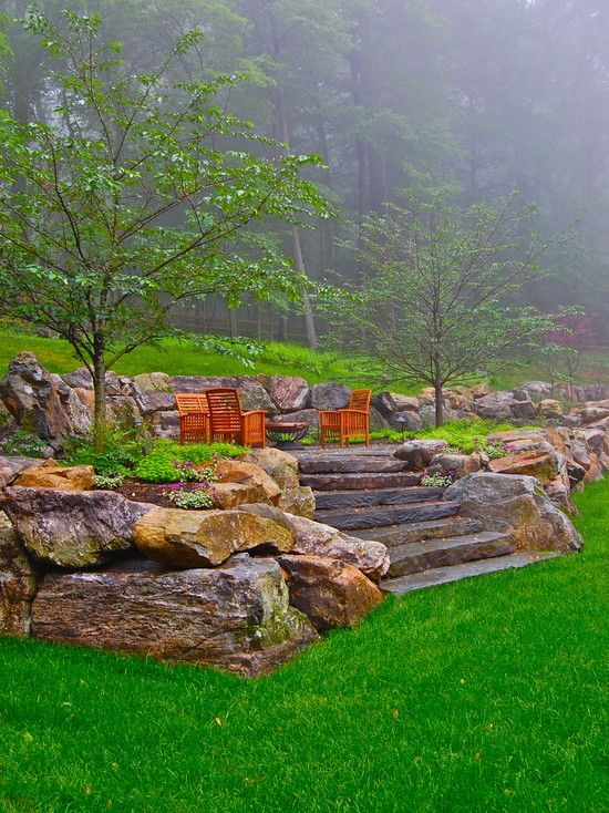 Patio Small Backyard Slope Design Pictures Remodel Decor And