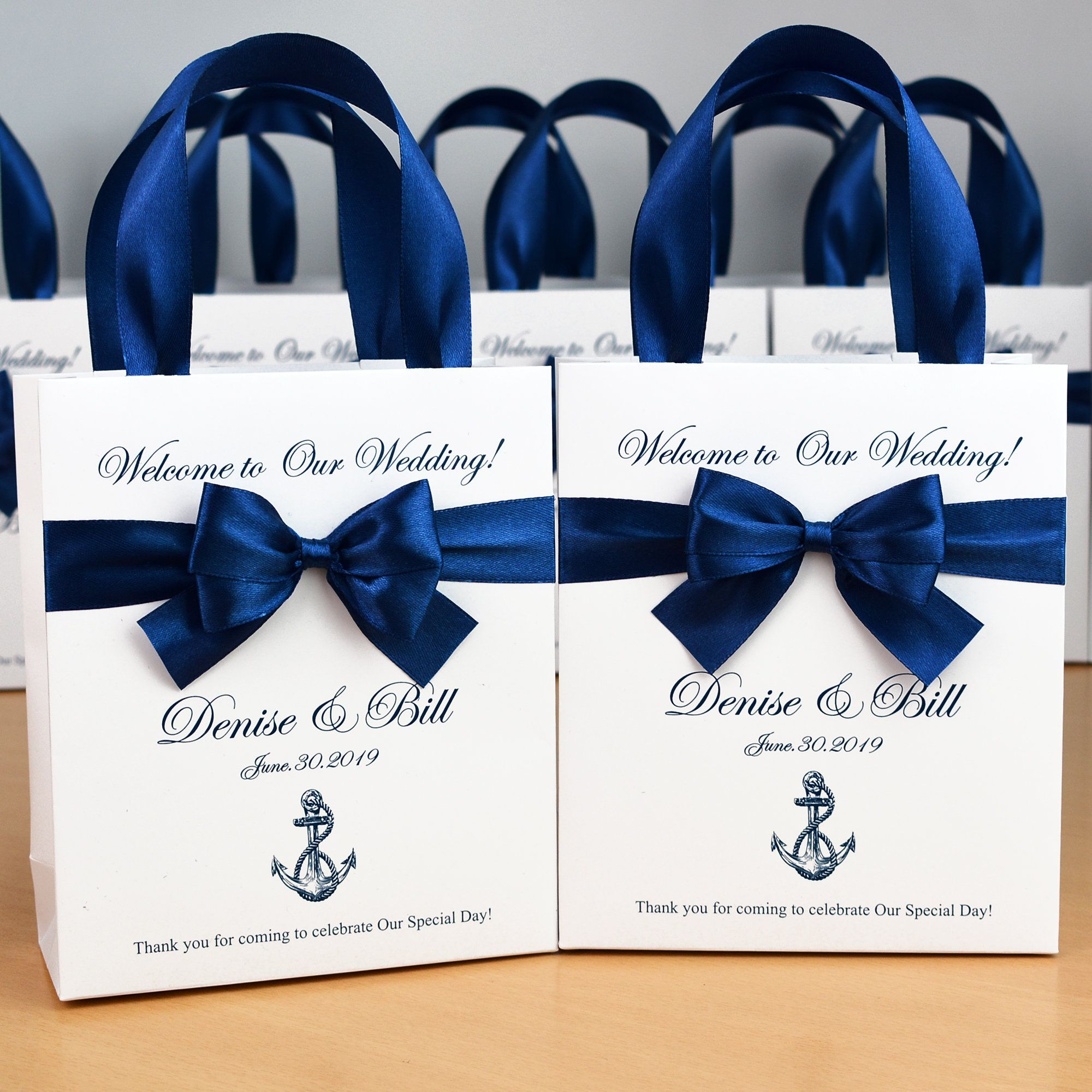 20 Nautical Wedding Welcome Bags With Satin Ribbon Handles Etsy In 2020 Wedding Party Gift Bags Wedding Goodie Bags Wedding Welcome Bags
