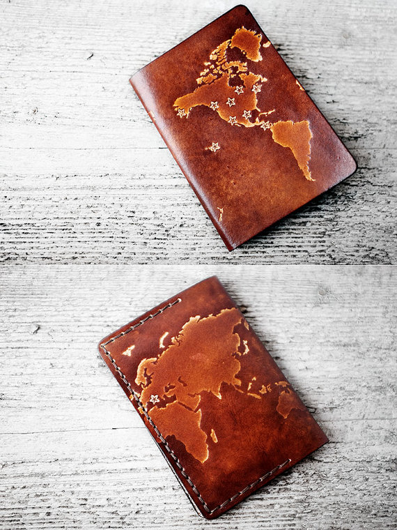 f6b0be826 PERSONALIZED Leather Passport Cover WORLD MAP - Stars - Travel Gift Passport  Holder - Genuine Leather- Wanderlust - World Map Travel Wallet