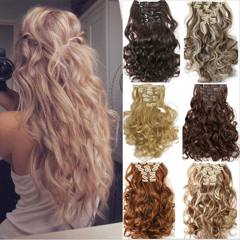 Uk Full Head Real Thick Clip In Hair Extensions Long Curly Straight
