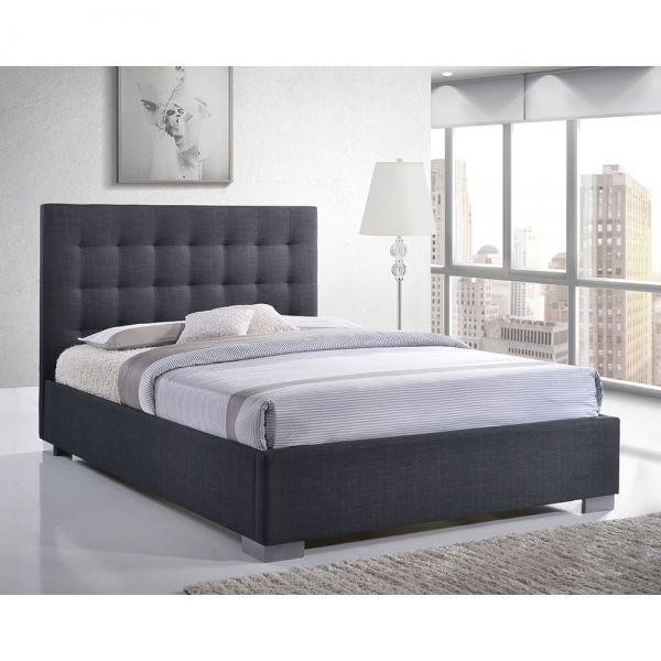 Ledger Padded King Size Bed, Fabric Upholstered, Grey | Bed frames ...