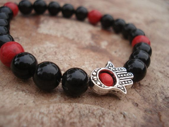 Hamsa Hand Bracelet with Obsidian and  Red by MakeMeSmileJewelry.