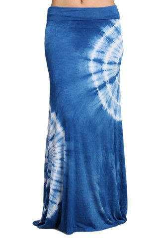 0fa1ab607d Womens Sexy Blue White Tie Dye Long Boho Maxi Skirt | Bohhemian ...