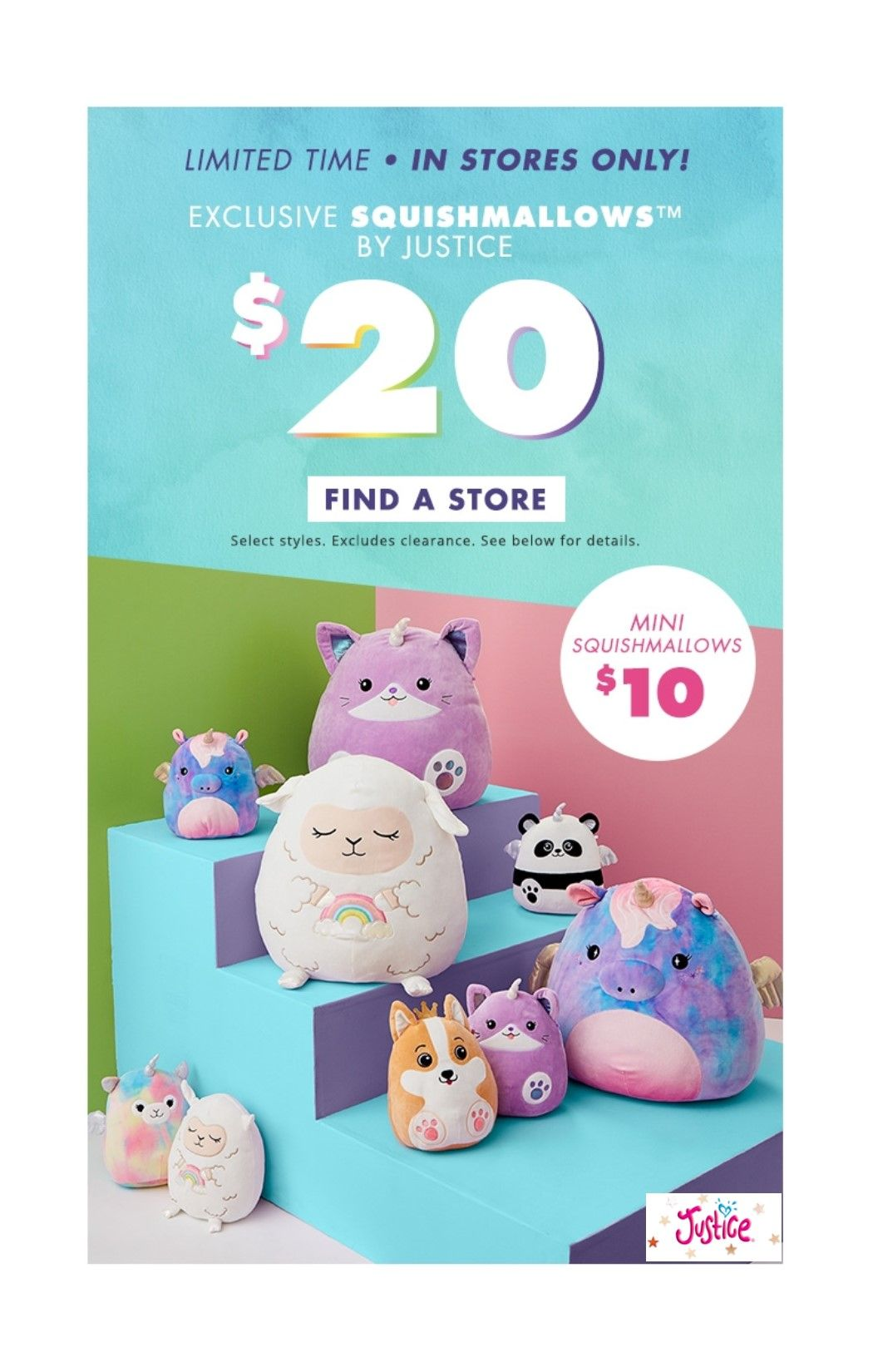 20 Squishmallow Offer Is Valid In U S Justice Locations While Supplies Last Through 2 14 2019 Exclusions May Apply Shop For Less Holiday Shop Dressbarn