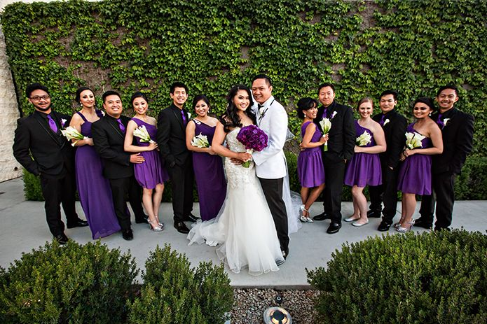 Chaffey Community Center Wedding Party In Black White And Purple