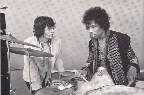 Jimi Hendrix playing drums and Al Kooper monterey sound check